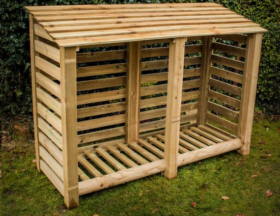 Large double log store by Berkshire Log Stores. Buy handmade large wooden garden storage online