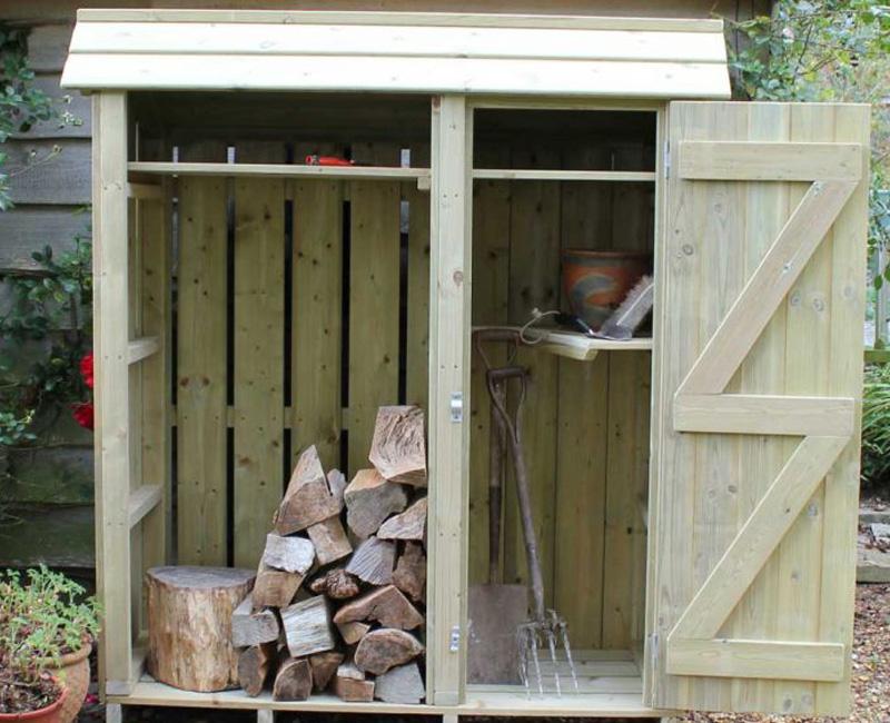 Tall Wooden Garden Store With Log Store By Berkshire Log Stores. Buy  Handmade Tall Garden ...