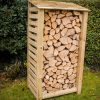 Single tall slatted log store by Berkshire Log Stores. Buy tall wooden log stores online