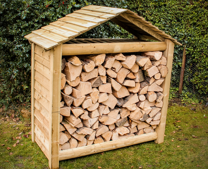 Tall Garden Store with Log Store by Berkshire Log Stores