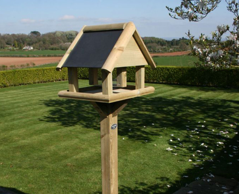 Garden Bird Table With Slate Roof by Berkshire Log Stores